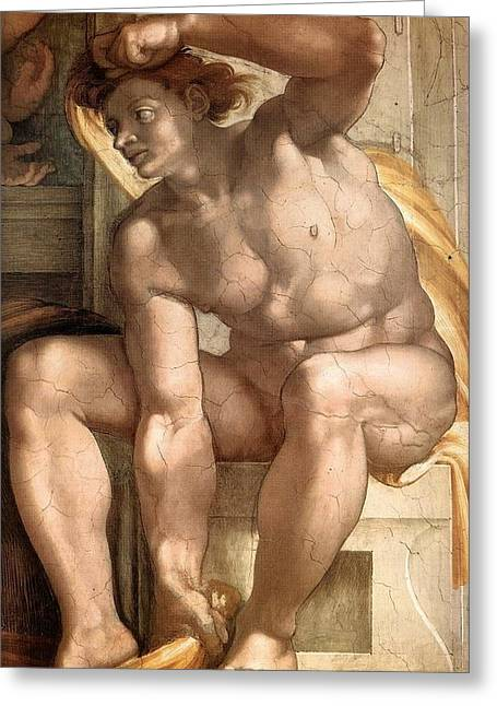 1510 Paintings Greeting Cards - Creation of Eve - Ignudo detail Greeting Card by Michelangelo Buonarroti