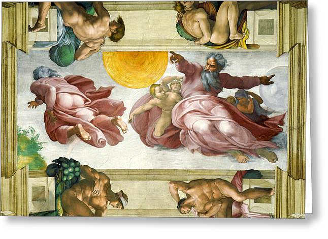 Sistine Paintings Greeting Cards - Creation of Sun Moon and Planets Within the Sistine Chapel Ceiling Greeting Card by Michelangelo di Lodovico Buonarroti Simoni