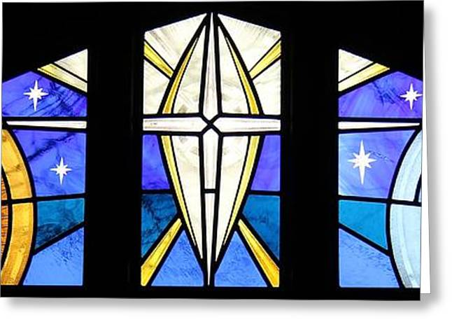 Art Glass Glass Art Greeting Cards - Creation of the Stars Greeting Card by Gilroy Stained Glass
