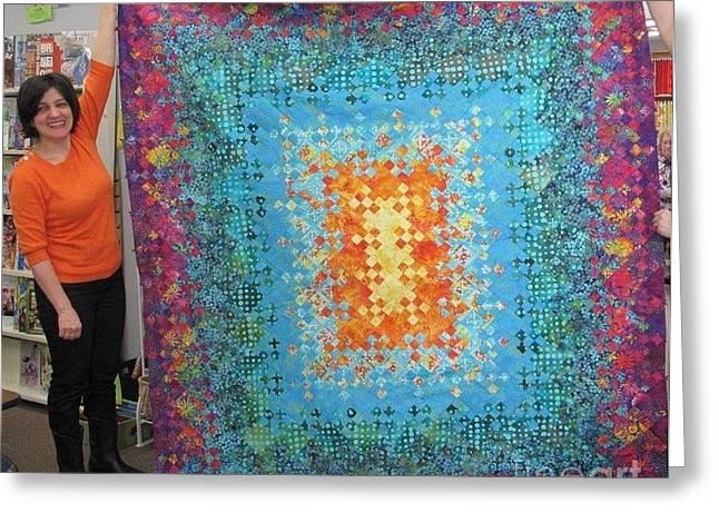 Garden Art Tapestries - Textiles Greeting Cards - Creation Greeting Card by Shirin Shahram Badie