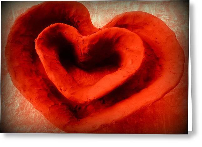Ceramic Bowl Ceramics Greeting Cards - Creative Heart ceramic bowl Greeting Card by Poornima Ravi