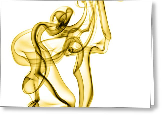Incense Smoke Greeting Cards - Creative golden smoke Abstract Greeting Card by Vishwanath Bhat