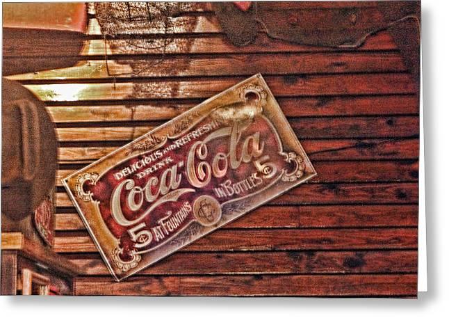 Creative Vintage Coca Cola Sign Greeting Card by Linda Phelps