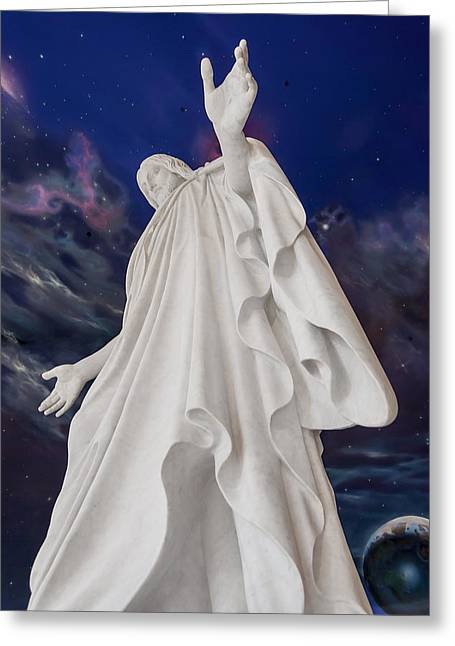 Grey Robe Greeting Cards - Creator of Heaven and Earth Greeting Card by Greg Collins