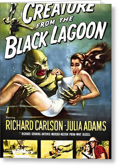Creature From The Black Lagoon Greeting Cards - CREATURE from the BLACK LAGOON LOBBY POSTER 1954 Greeting Card by Daniel Hagerman