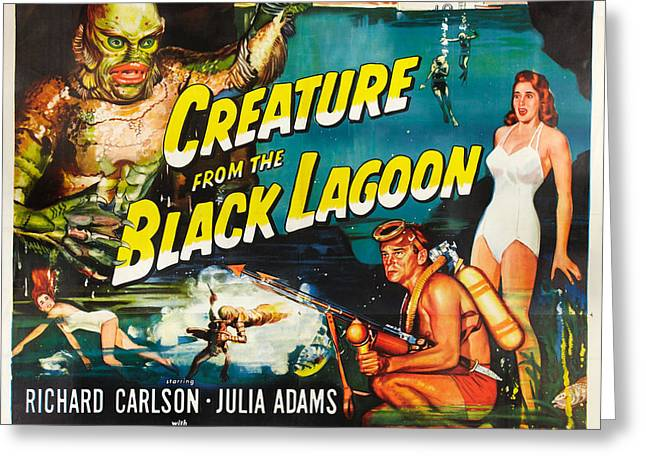 Theater Greeting Cards - Creature From The Black Lagoon Greeting Card by MMG Archives