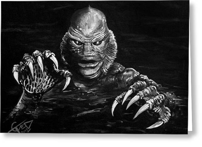 Classic Horror Greeting Cards - Creature Greeting Card by Tom Carlton