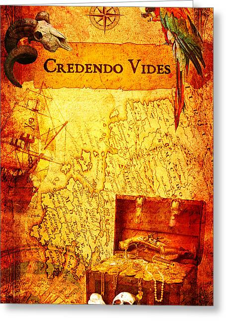 Pirate Ships Greeting Cards - Credendo Vides Greeting Card by Donika Nikova
