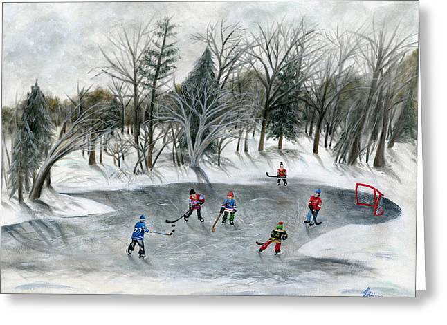 Puck Paintings Greeting Cards - Credit River Dreams Greeting Card by Brianna Mulvale