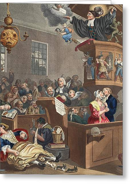 Evil Drawings Greeting Cards - Credulity, Superstition And Fanaticism Greeting Card by William Hogarth