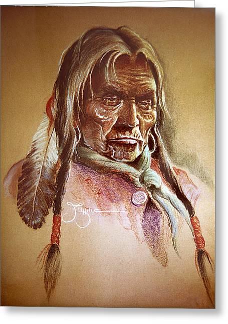 American Eagle Pastels Greeting Cards - Cree Elder Greeting Card by James Eldridge