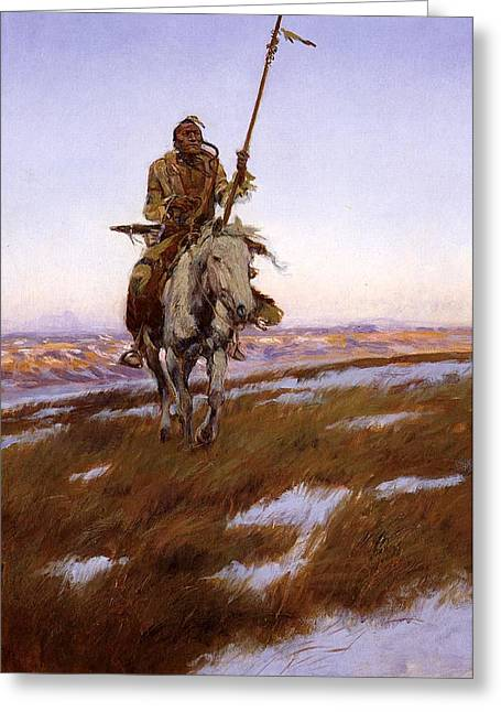 Cree Greeting Cards - Cree Indian Greeting Card by Charles Russell