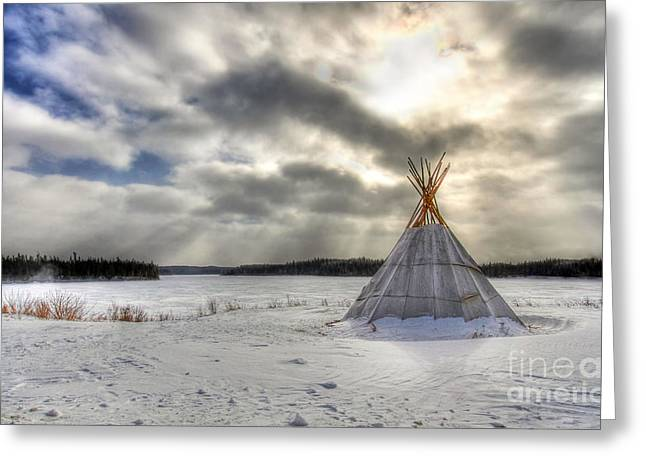 Snowstorm Greeting Cards - Cree Tepee Greeting Card by Mircea Costina Photography