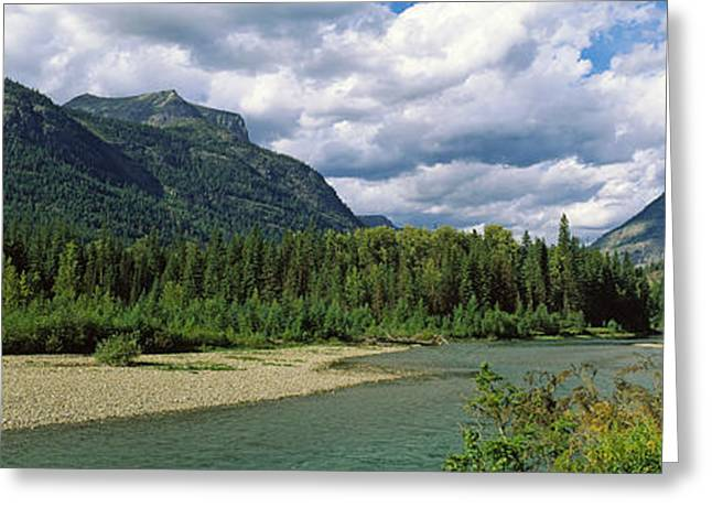 Montana Mountains Greeting Cards - Creek Along Mountains, Mcdonald Creek Greeting Card by Panoramic Images