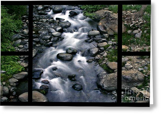 Polyptych Greeting Cards - Creek Flow Polyptych Greeting Card by Peter Piatt