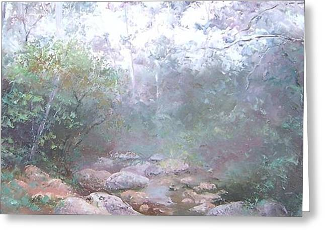 Impressionist Greeting Cards - Creek in the Forest Greeting Card by Jan Matson
