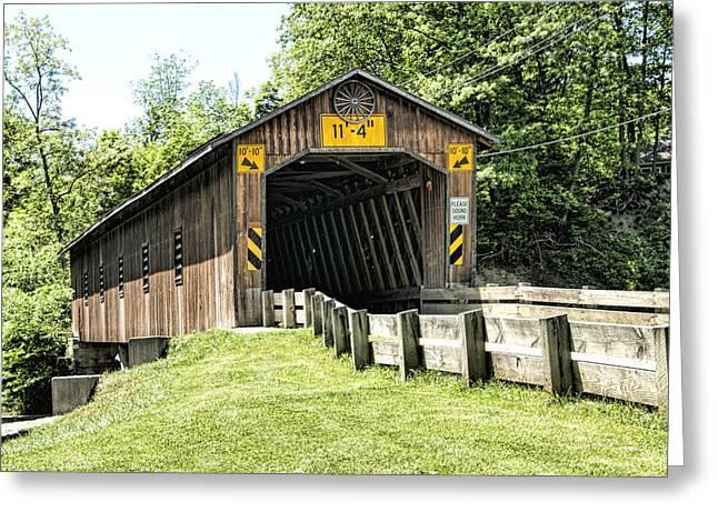 Covered Bridge Greeting Cards - Creek Road Covered Bridge Greeting Card by Phyllis Taylor