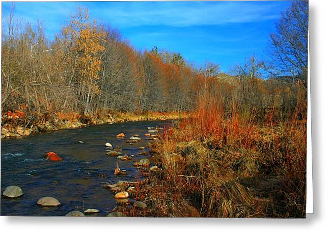 Red Rock Crossing Greeting Cards - Creekside Greeting Card by Miles Stites