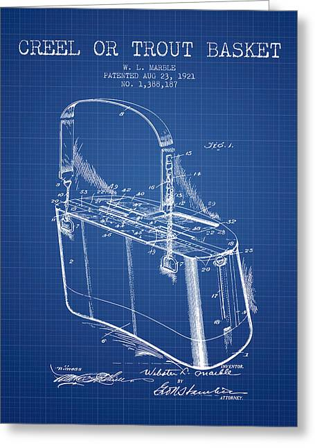 Tackle Greeting Cards - Creel or Trout Basket Patent from 1921 - Blueprint Greeting Card by Aged Pixel
