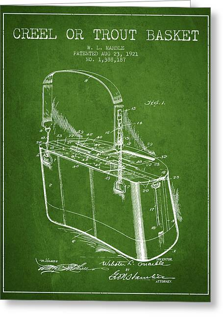 Tackle Greeting Cards - Creel or Trout Basket Patent from 1921 - Green Greeting Card by Aged Pixel