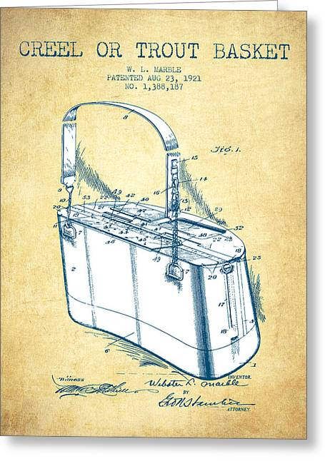 Fishing Rods Greeting Cards - Creel or Trout Basket Patent from 1921 - Vintage Paper Greeting Card by Aged Pixel