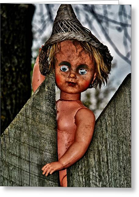 Freakish Greeting Cards - Creepy Doll Greeting Card by Todd and candice Dailey