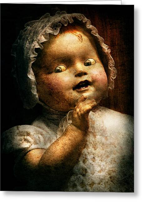 Macabe Greeting Cards - Creepy - Doll - Come play with me Greeting Card by Mike Savad