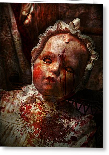 Macabre Photographs Greeting Cards - Creepy - Doll - Its best to let them sleep  Greeting Card by Mike Savad