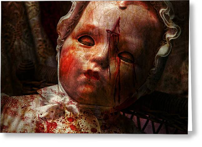 Creepy - Doll - It's best to let them sleep  Greeting Card by Mike Savad