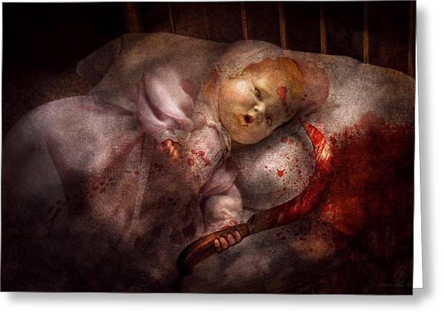 Creepy Digital Art Greeting Cards - Creepy - Doll - Night Terrors Greeting Card by Mike Savad