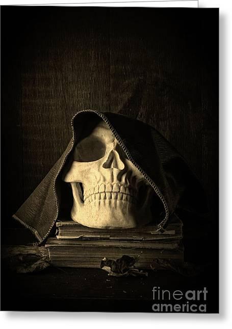 Grim Greeting Cards - Creepy Hooded Skull Greeting Card by Edward Fielding