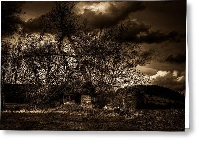 Creepy House One Greeting Card by Derek Haller