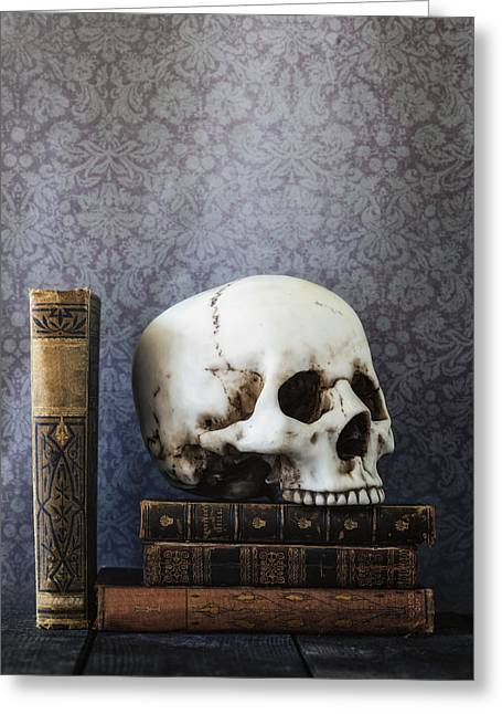 Library Greeting Cards - Creepy Library Greeting Card by Joana Kruse