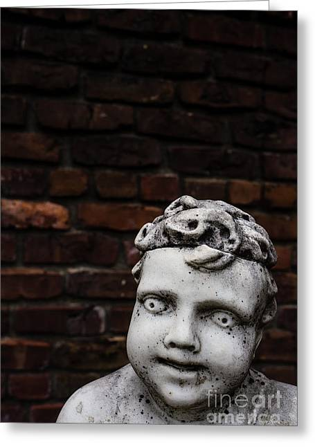 Recently Sold -  - Marble Eye Greeting Cards - Creepy Marble Boy Garden Statue Greeting Card by Edward Fielding