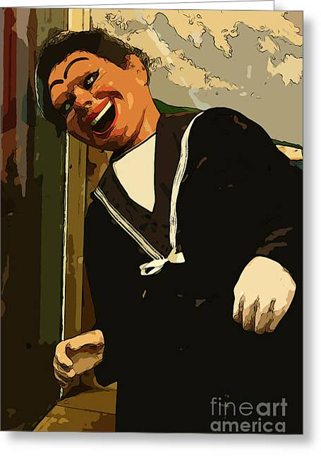Punch Mixed Media Greeting Cards - Creepy Sailor Greeting Card by Michael Braham
