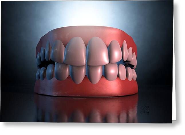 Creepy Digital Art Greeting Cards - Creepy Teeth  Greeting Card by Allan Swart