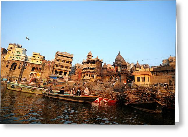 Cremation Ghat Of Varanasi Greeting Card by Money Sharma