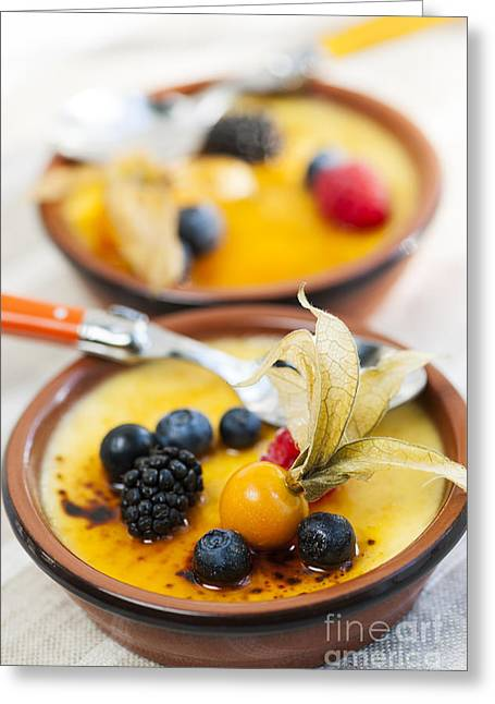 Delicacy Greeting Cards - Creme brulee dessert Greeting Card by Elena Elisseeva