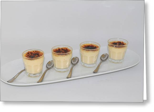 Brulee Greeting Cards - Creme brulee shots Greeting Card by Ash Sharesomephotos