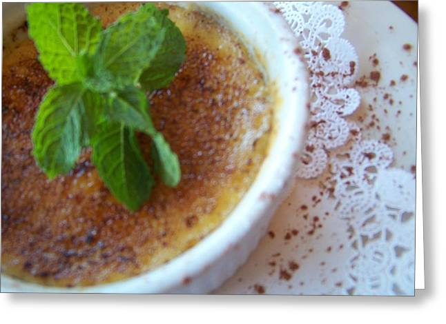 Brulee Greeting Cards - Creme Brulee with Mint Greeting Card by KC Taffinder