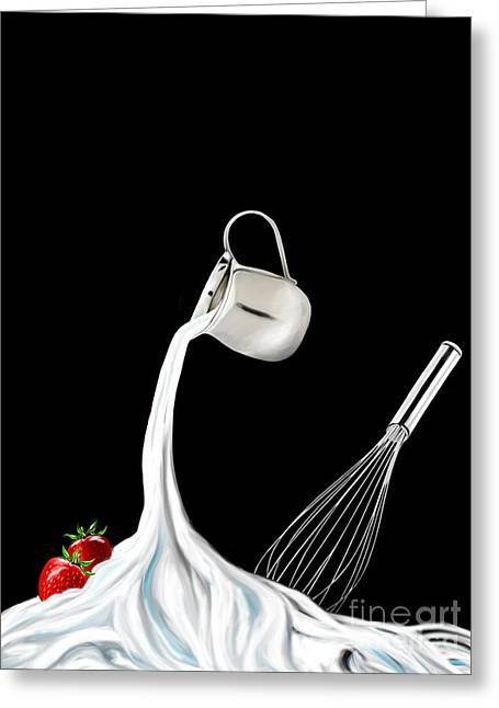 Stainless Steel Greeting Cards - Creme Fouettee - Whipped Cream Greeting Card by Kathryn L Novak