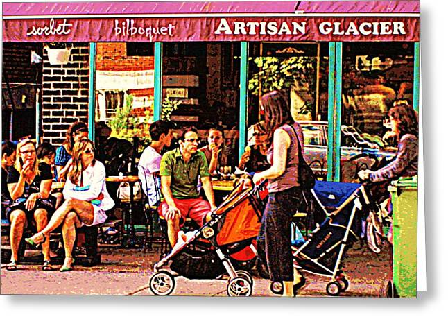 Sorbet Greeting Cards - Creme Glacier Bilboquet Rue Bernard French Sidewalk Cafe Scene Montreal Art Work  Carole Spandau  Greeting Card by Carole Spandau