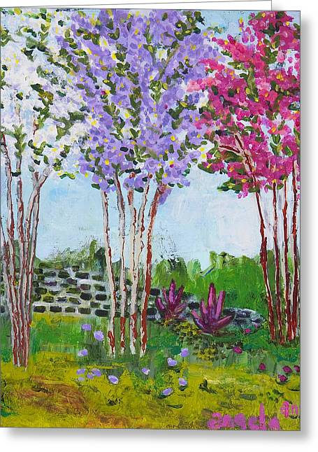Crape Greeting Cards - Crepe Myrtles Greeting Card by Angela Annas