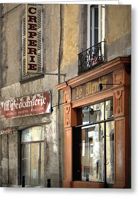 French Shops Greeting Cards - Creperie in Clermont Ferrand France Greeting Card by Nomad Art And  Design