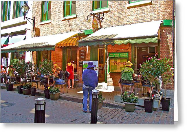 Qc Greeting Cards - Crepes et Fondues in Old Montreal-QC Greeting Card by Ruth Hager