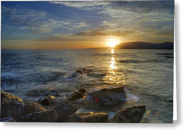 Beach Stones. Colorful Rocks Greeting Cards - Crepuscular rays at the sea Greeting Card by Guido Montanes Castillo