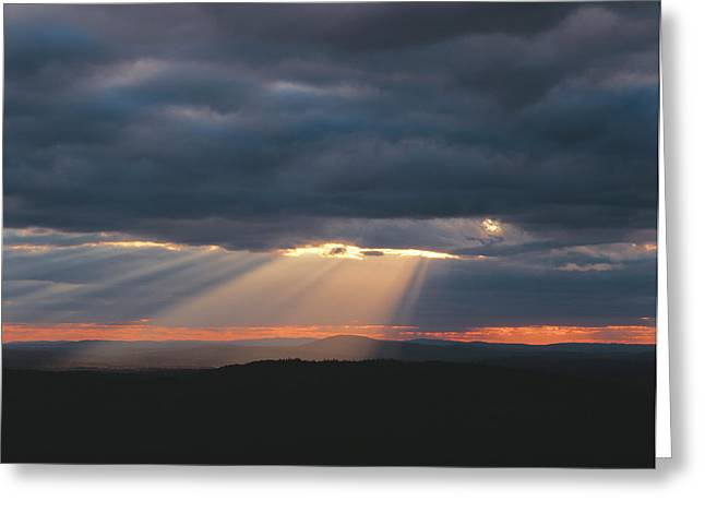 Crepuscular Rays Breaking Greeting Card by Panoramic Images