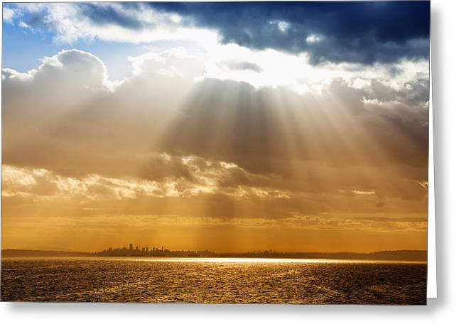 Canon 50d Greeting Cards - Crepuscular Rays over City Greeting Card by Julius Reque