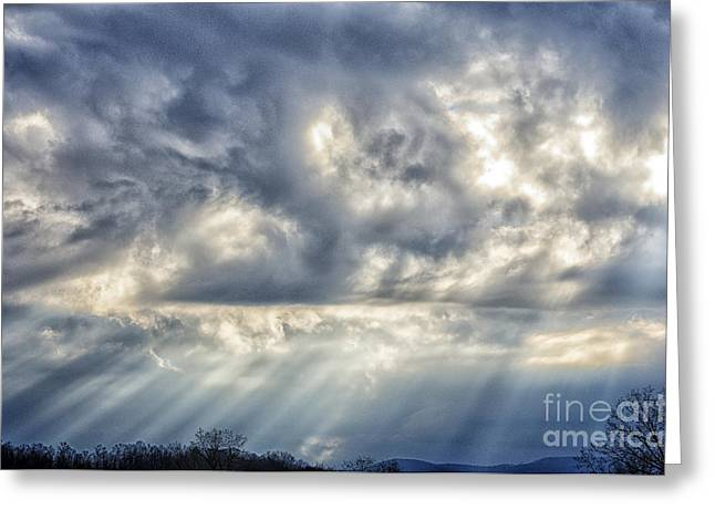 Sun Breaking Through Clouds Photographs Greeting Cards - Crepuscular Rays Greeting Card by Thomas R Fletcher