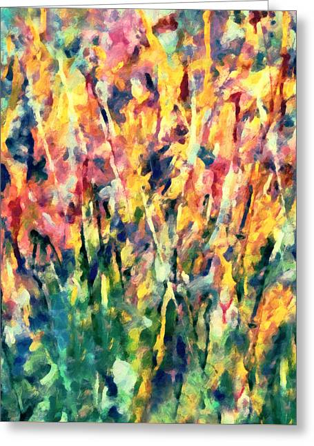 Seasonal Greeting Cards - Crescendo Of Spring Abstract Greeting Card by Georgiana Romanovna
